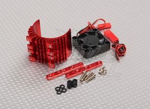 Motor Heat Sink w / Fan Red Aluminium (36mm)