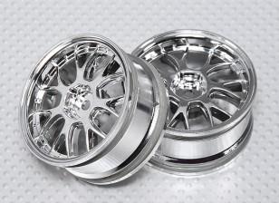 01:10 Schaal Wheel Set (2 stuks) Chrome 'Y' 7-Spoke RC Car 26mm (No Offset)