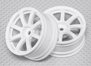 01:10 Schaal Wheel Set (2 stuks) Witte 8-Spoke RC Car 26mm (geen offset)