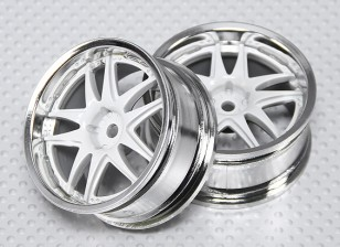 01:10 Schaal Wheel Set (2 stuks) Wit / Chroom Split 5-Spoke RC Car 26mm (geen offset)