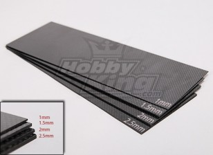 Geweven koolstofvezel Sheet 300x100 (1,0 mm dik)
