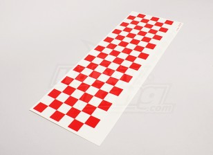 Stickervel Chequer Patroon Rood / Clear 590mmx180mm