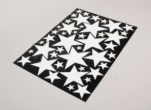 Star Wit / zwart diverse maten Decal Sheet 425mmx300mm