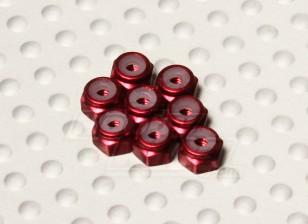 Red geanodiseerd aluminium M2 Nylock Nuts (8 stuks)