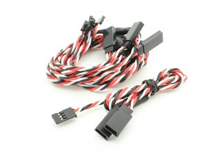 Twisted 30cm Y Servo Leads (Futaba) 24AWG (5pc)