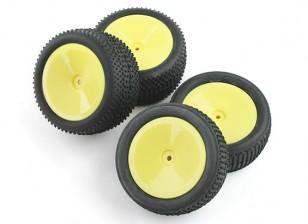 Voor en achter complete Tire Set (4 stuks) - BSR Racing BZ-222 10/01 2WD Racing Buggy