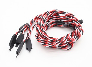 Twisted 80cm Servo Lead Extention (Futaba) met haak 22AWG (5pcs / bag)