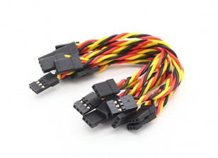 Twisted 15cm Male naar Male Servo Lead (JR) 22AWG (10st / set)