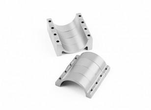 Zilver geanodiseerd Tweezijdige CNC Aluminium Tube Clamp 25mm Diameter