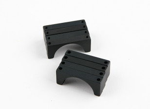Zwart geanodiseerd Tweezijdige CNC Aluminium Tube Clamp 25mm Diameter