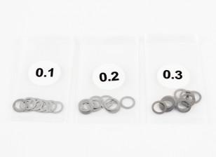 RVS 5mm Shim Spacer 0,1 / 0,2 / 0,3 (10st per stuk) - 3Racing SAKURA FF 2014