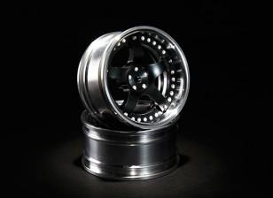 HobbyKing 10/01 Verstelbare Offset Aluminium Drift Wheel - Black / Polished (2 stuks)