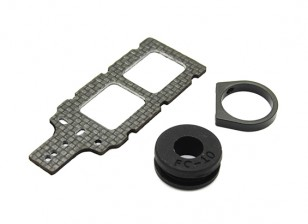 Carbon FPV Transmitter Mount met Rubber Damper Suits 10mm Booms