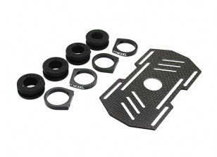 Carbon Multi-Rotor Battery Mount met Rubber Damping Suits 12mm Booms