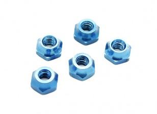 M4 Aluminium Nut Blauw (5 stuks)