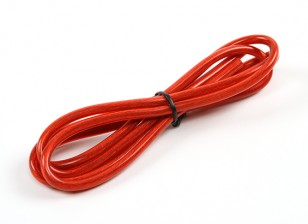 Turnigy Pure-Silicone Draad 12AWG 1m (Translucent Red)