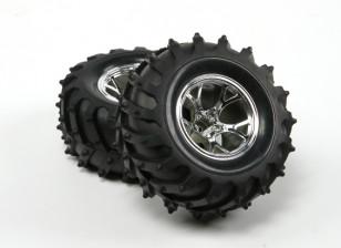 HobbyKing ® ™ 10/01 Crawler & Monster Truck 125mm Wheel & Tire (Silver Rim) (2 stuks)