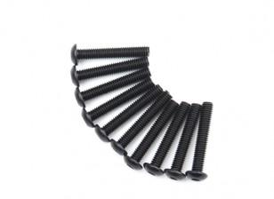 Metal Round Head Machine Hex Screw M4x24-10pcs / set