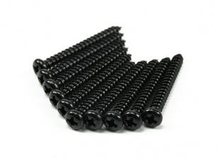 Screw Round Head Phillips M4x36mm Self Tapping Steel Black (10pcs)