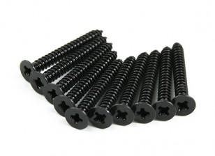 Screw Flat Head Phillips M2.6x22mm Self Tapping Steel Black (10pcs)