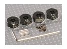 Titanium Kleur Aluminium Wiel Adapters met Lock Schroeven - 5 mm (12mm Hex)