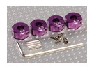Paars Aluminium Wiel Adapters met Lock Schroeven - 6 mm (12mm Hex)