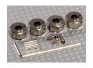 Titanium Kleur Aluminium Wiel Adapters met Lock Schroeven - 6 mm (12mm Hex)