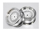 01:10 Scale Wheel Set (2 stuks) Chrome / White 'Hot Wire' RC Car 26mm (No Offset)