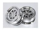 01:10 Schaal Wheel Set (2 stuks) Chroom Retro 7-Spoke RC Car 26mm (No Offset)