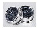 01:10 Scale Wheel Set (2 stuks) Chroom / Gun Metal 'Y' 7-Spoke RC Car 26mm (No Offset)