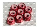 Red geanodiseerd aluminium M4 Nylock Nuts (8 stuks)