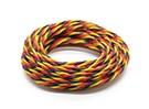 Twisted 22AWG Servo Draad Rood / Zwart / Geel (5mtr)