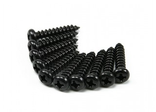 Screw Round Head Phillips M4x20mm Self Tapping Steel Black (10pcs)