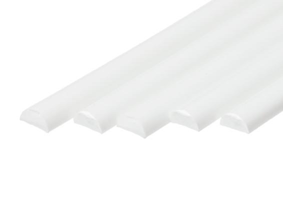 ABS Half Round Rod 8.0mm x 500mm White (Qty 5)