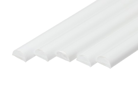 ABS Half Round Rod 10.0mm x 500mm White (Qty 5)