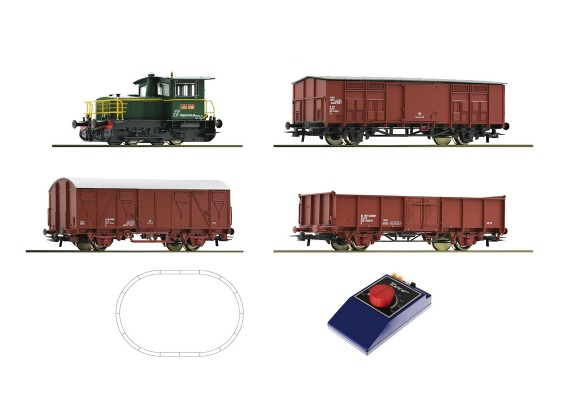 Roco HO Analogue Starter Train Set with Diesel Locomotive and Freight Wagons