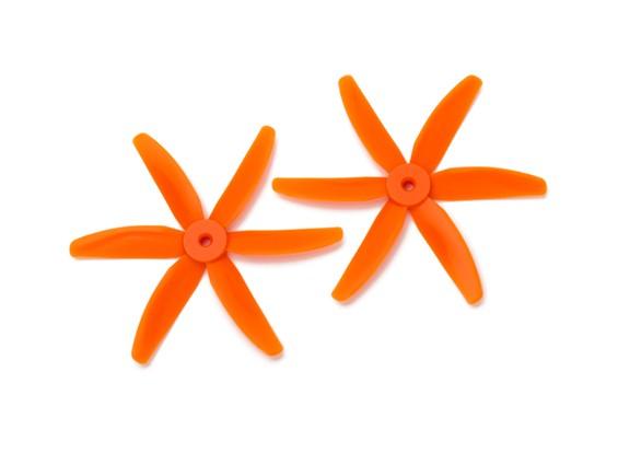 Gemfan圆头聚碳酸酯5040 6叶螺旋桨橙色(CW / CCW)(1对)