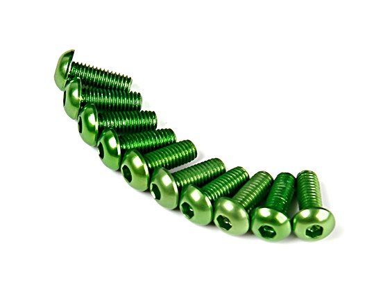 7075铝。 M3圆头螺丝8毫米绿色