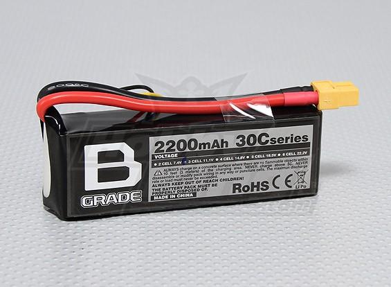 B级2200mAh的3S 30C Lipoly电池