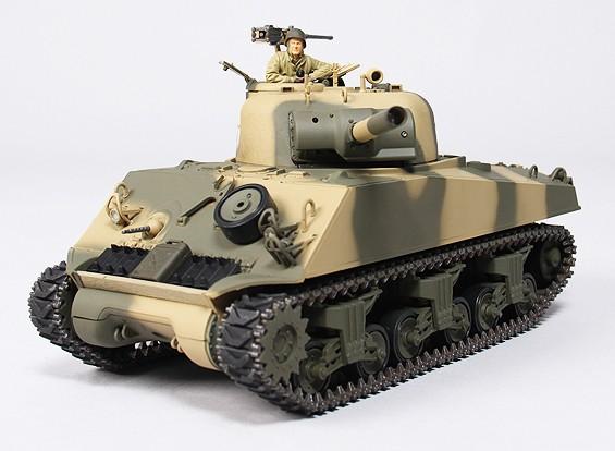 美国的M4A3谢尔曼中型遥控坦克RTR W /发送/声音/红外(沙漠)
