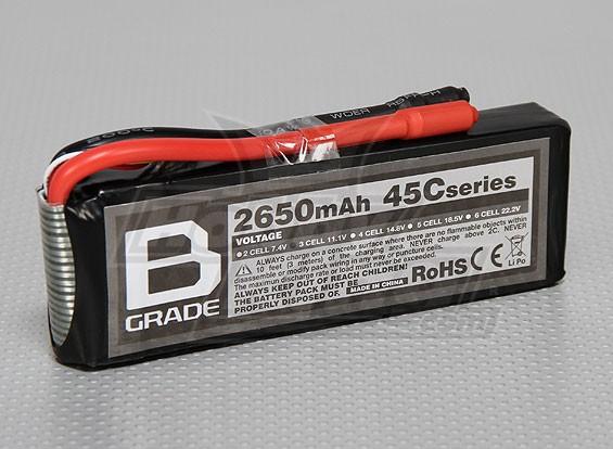 B级2650mAh 3S 45C Lipoly电池