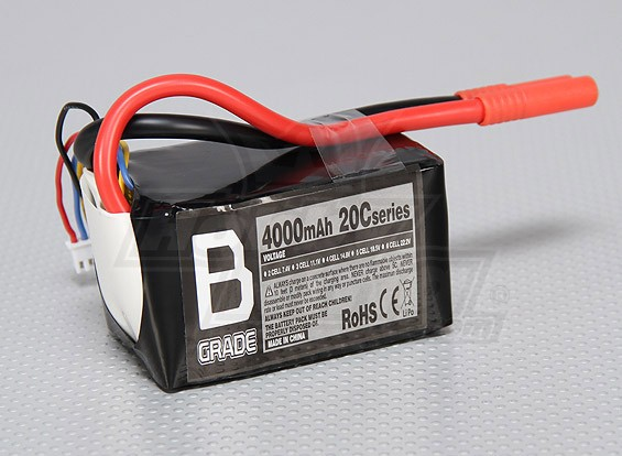 B级4000mAh的3S 20C Lipoly电池