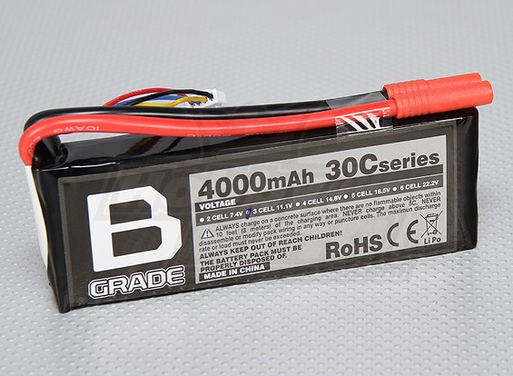 B级4000mAh的3S 30C Lipoly电池