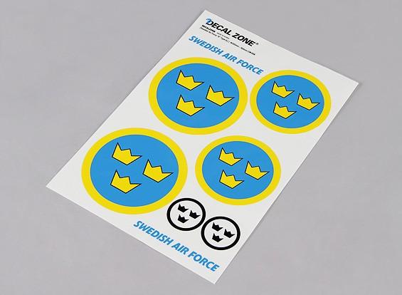 规模国家空军徽章贴纸表 - 瑞典(大)