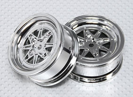 1:10比例轮组(2个)铬复古7辐式遥控车26毫米(无偏移)