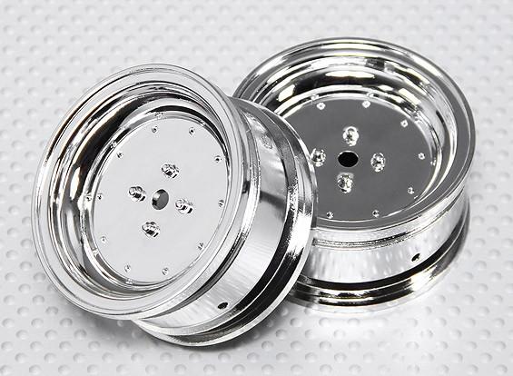 1:10比例轮组(2个)的Chrome碟式遥控车26毫米(无偏移)
