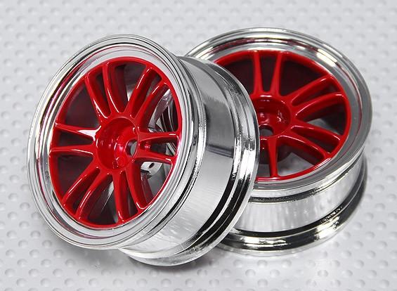 1:10比例轮组(2个)红色/镀铬分割6辐式遥控车26毫米(无偏移)