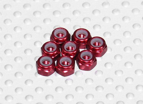 红色阳极氧化铝M3 NYLOCK螺母(8件)