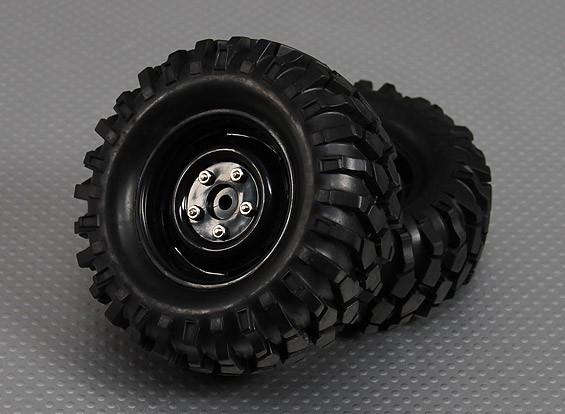 1/10履带96毫米车轮和轮胎12毫米十六进制(2PC)