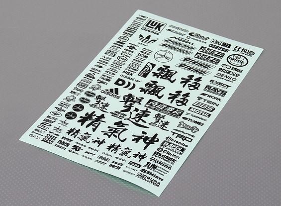 不干胶贴纸片 - 字符1/10量表(黑色)
